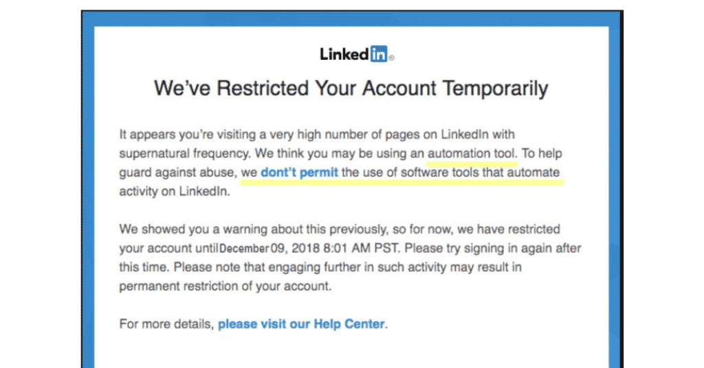 linkedin account restricted temporarily warning