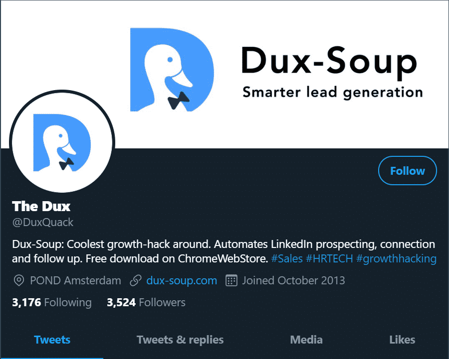dux soup twitter page