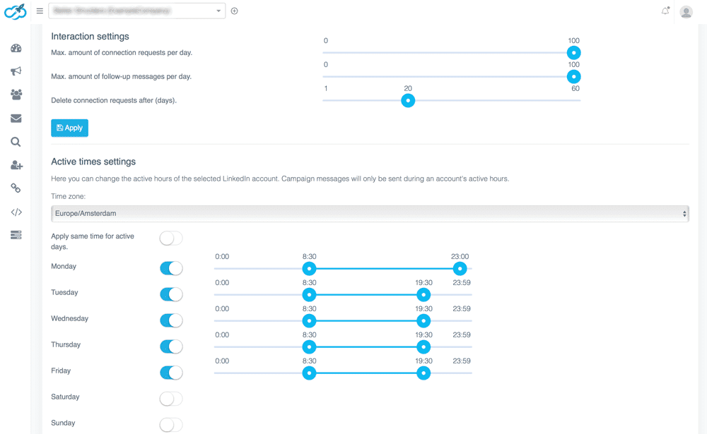 expandi interaction settings timezone