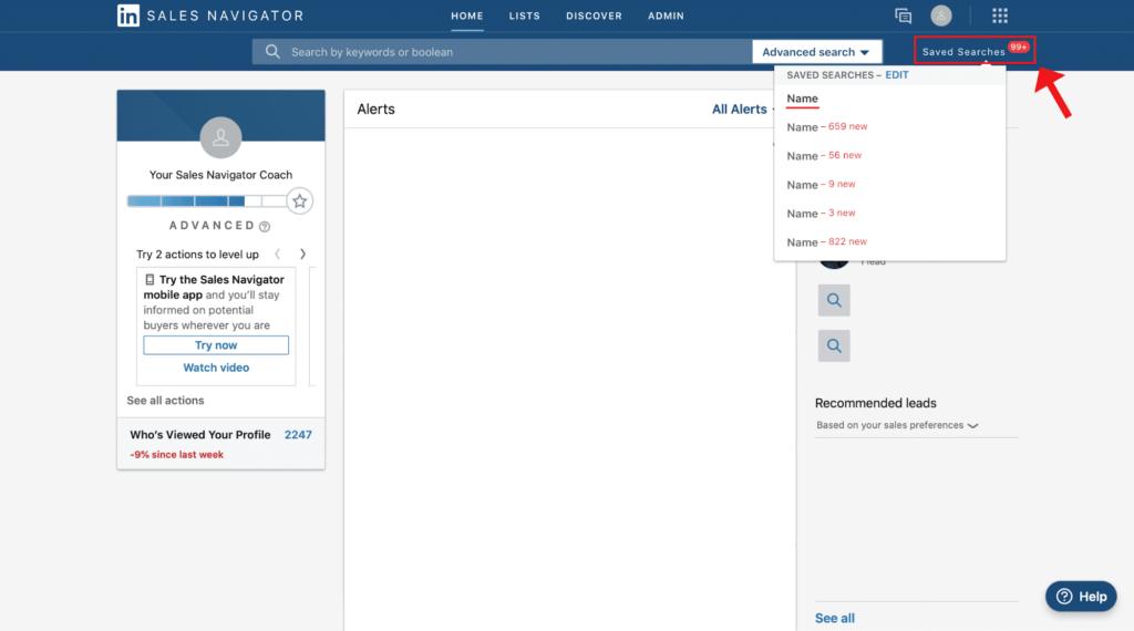 sales navigator new search