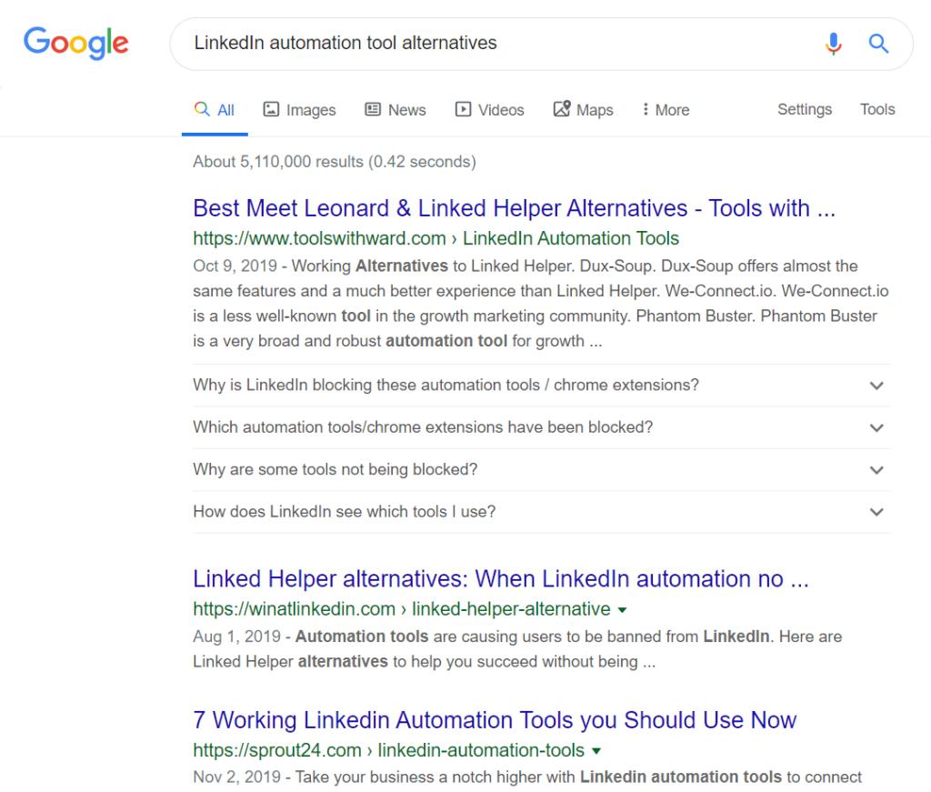 linkedin automation tool alternatives google search