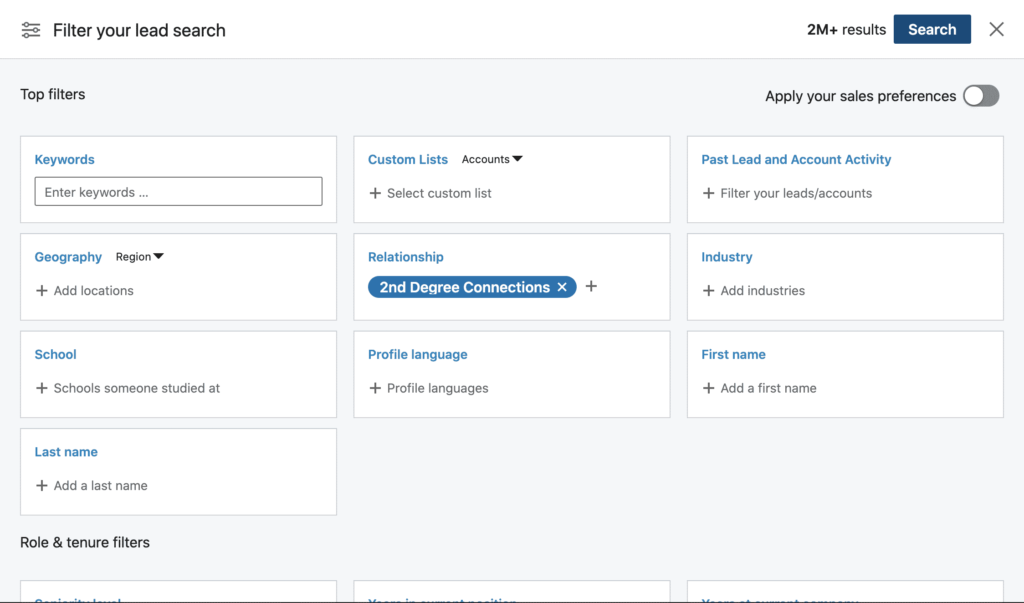 linkedin sales navigator filter lead search