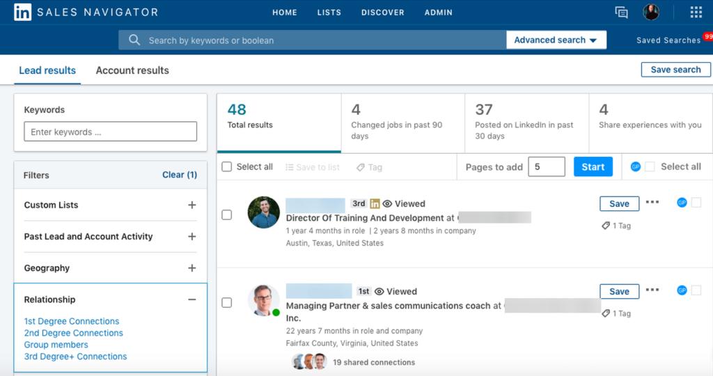 linkedin sales navigator search authors