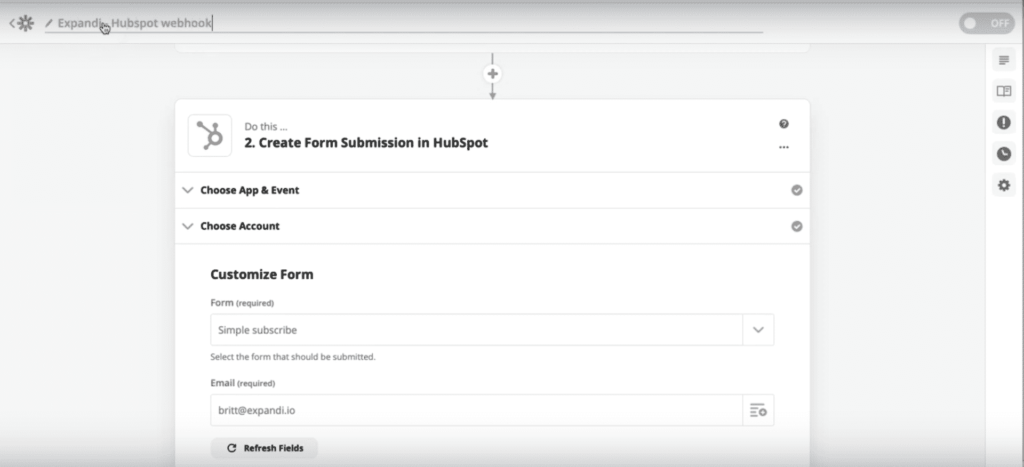 zapier create form submission in hubspot