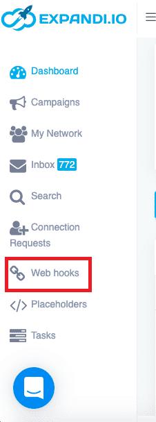 expandi web hooks dashboard menu