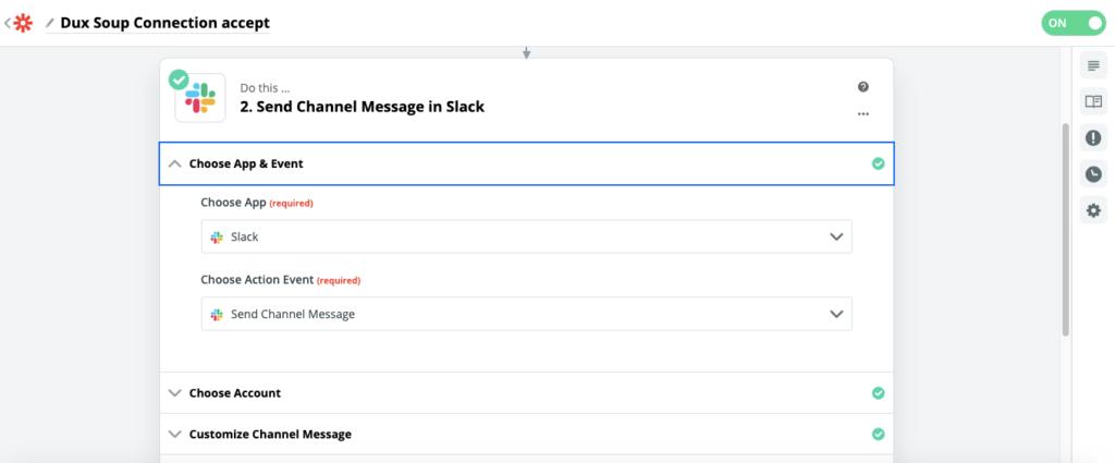 zapier send channel message slack