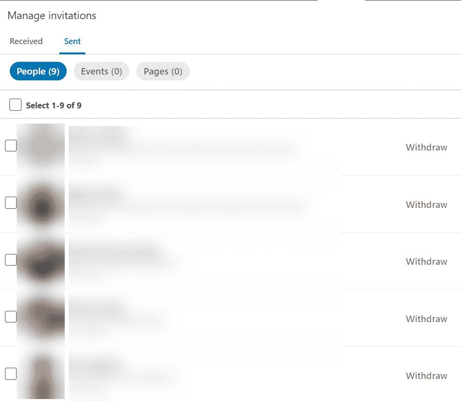 linkedin manage invitations withdraw