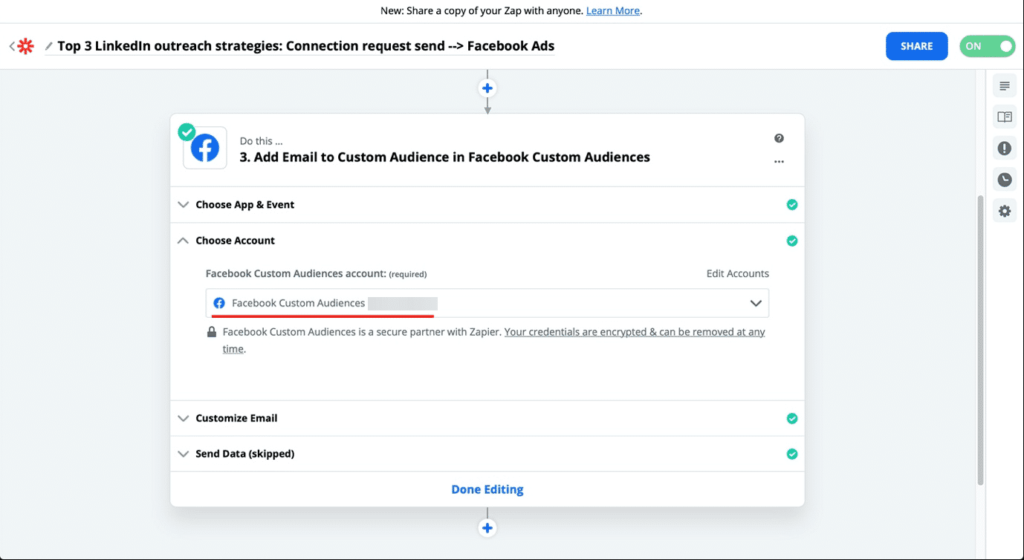 zapier add facebook audience