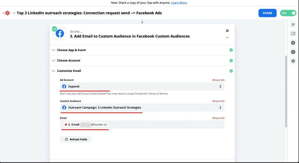 zapier outreach facebook audience