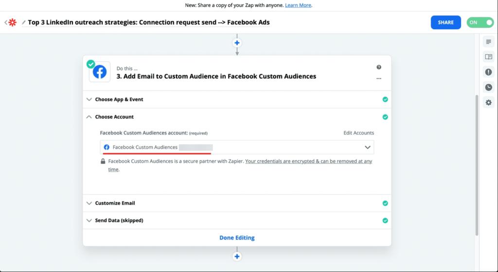 zapier facebook add email
