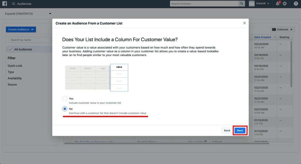 facebook no customer value