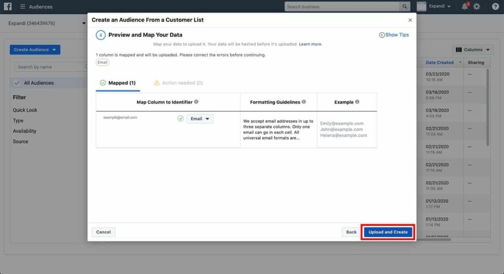 facebook preview upload create