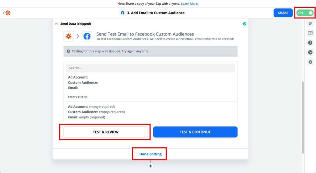 zapier add email to custom audience