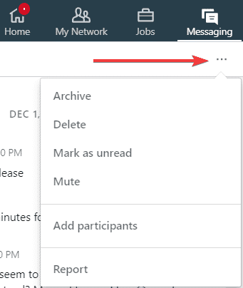 linkedin drop down dots conversation