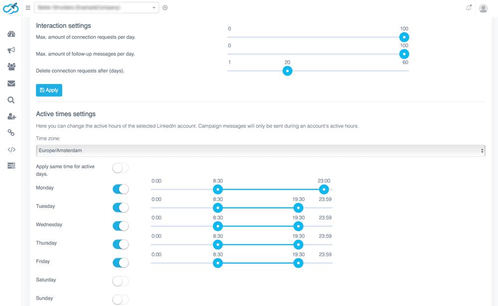 expandi interaction and timezone settings