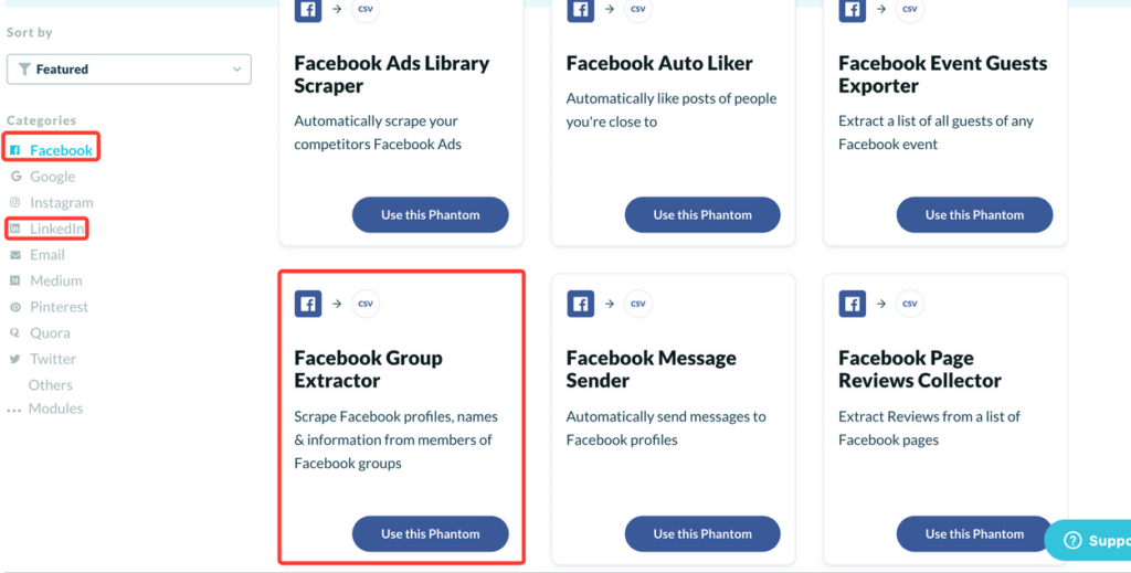 phantombuster facebook group extractor API