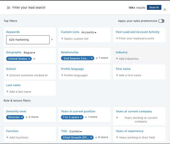 linkedin sales navigator lead search