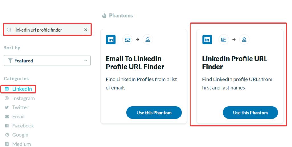 phantombuster linkedin url profile finder API
