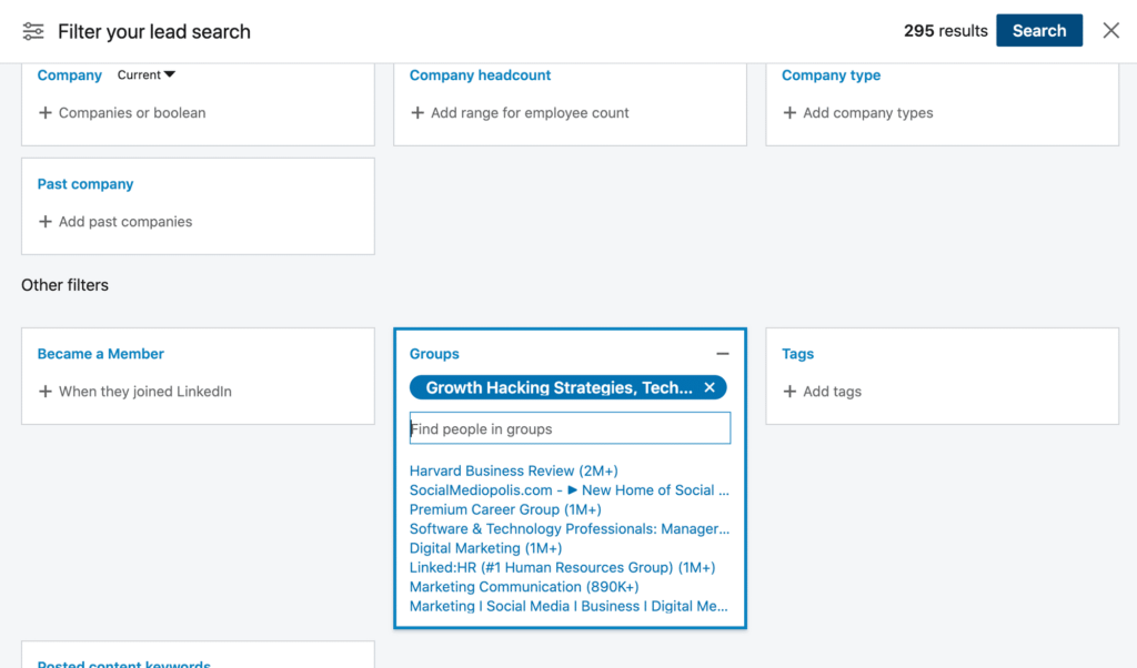 sales navigator group filter