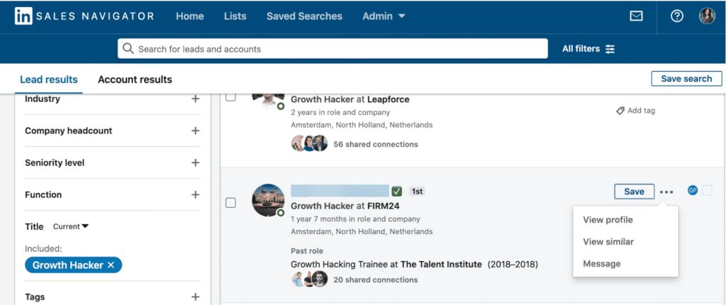 linkedin sales navigator view similar