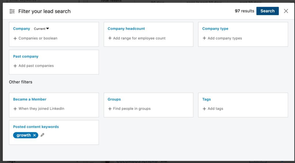 linkedin posted content keywords filter
