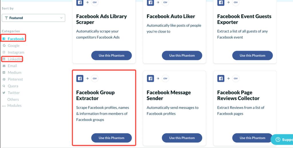 phantombsuter facebook group extractor API